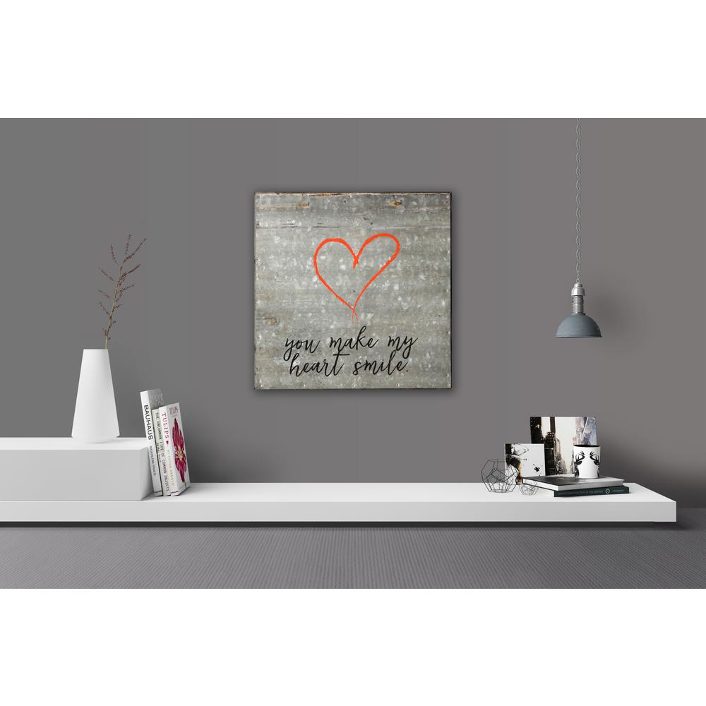 Reclaimed Steel Metal Wall Art YOU MAKE MY HEART SMILE Decorative