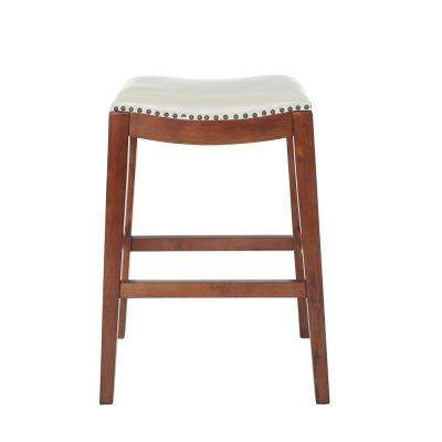 Metro 29 in. Saddle Stool with Nail Head Accents and Espresso Legs with Cream Bonded Leather