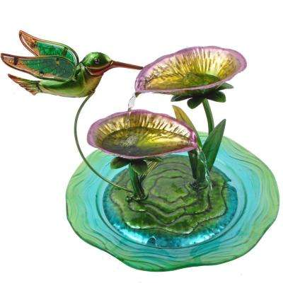 Home Decor Hummingbird Fusion Glass Tabletop Water Fountain