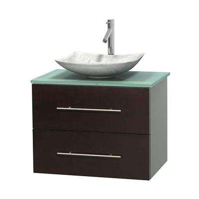 Centra 30 in. Vanity in Espresso with Glass Vanity Top in Green and Carrara Sink