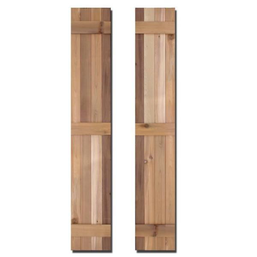 12 in. x 80 in. Natural Cedar Board-N-Batten Baton Shutters Pair