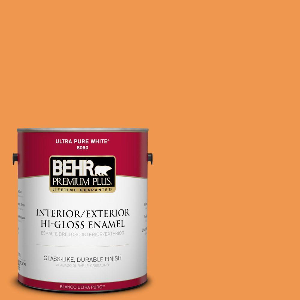 BEHR Premium Plus 1-gal. #270B-6 Autumn Orange Hi-Gloss Enamel Interior/Exterior Paint