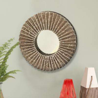 Rays Design Brown and White Mango Wood Mirror Frame