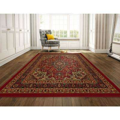 Ottohome Collection Persian Heriz Oriental Design Dark Red 8 ft. x 10 ft. Area Rug