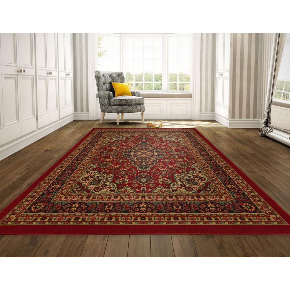 Ottohome Collection Persian Heriz Oriental Design Red 8 Ft 2 In X 9