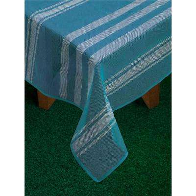 Bistro Stripe 60 in. x 84 in. Blue Vinyl and Poly Tablecloth