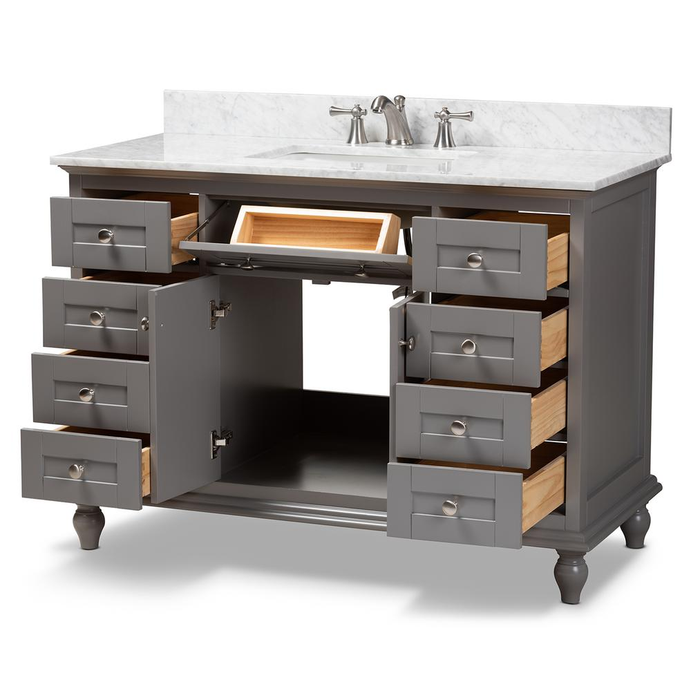 Baxton Studio Caroline 48 in. W x 34.7 in. H Bath Vanity in Gray with Vanity Top in White with High Gloss White Basin