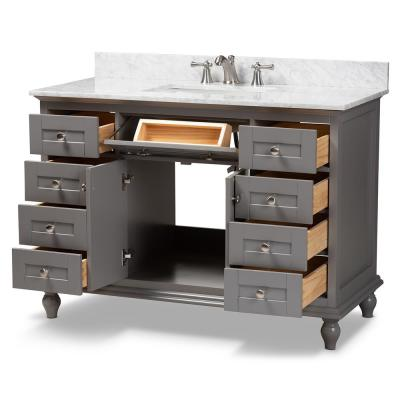 Caroline 48 in. W x 34.7 in. H Bath Vanity in Gray with Vanity Top in White with High Gloss White Basin