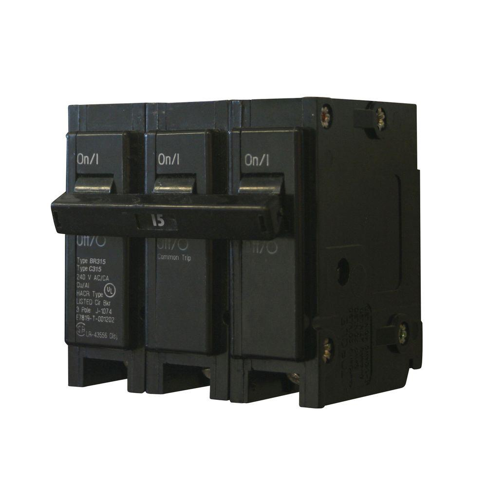 Eaton Circuit Breakers Power Distribution The Home Depot D3pf2aa Relay Wiring Diagram Br 15 Amp 3 Pole Breaker