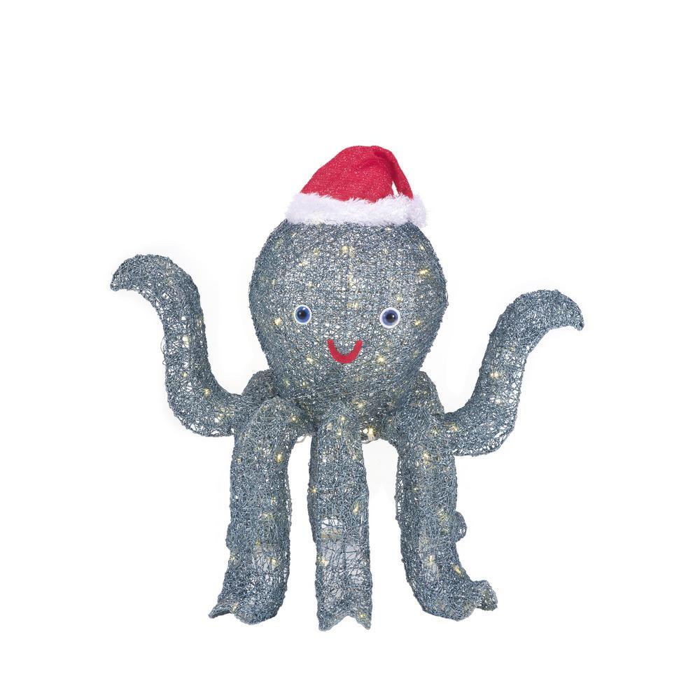 30 in. Christmas Octopus in Santa Hat