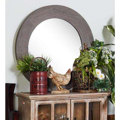 Round Stained Gray Dresser Wall Mirror