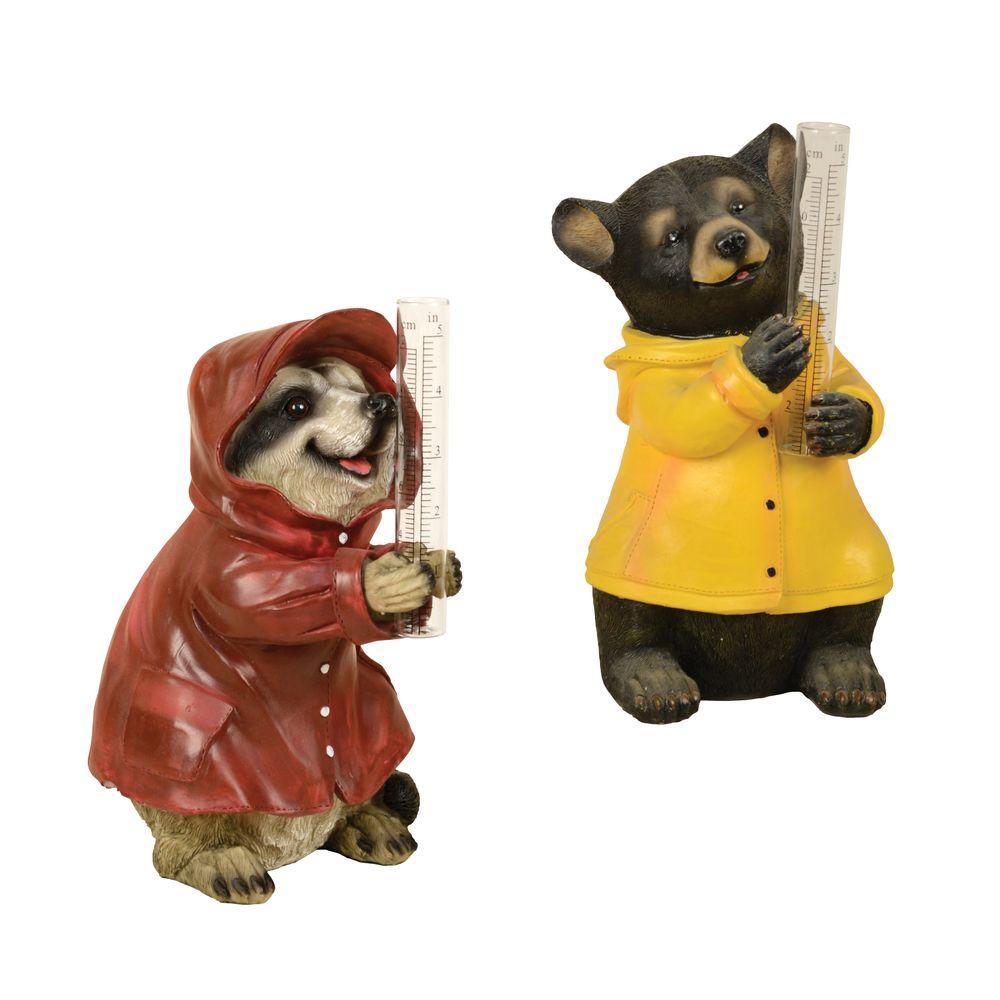 Raccoon and Bear Fiber Clay Rain Gauge