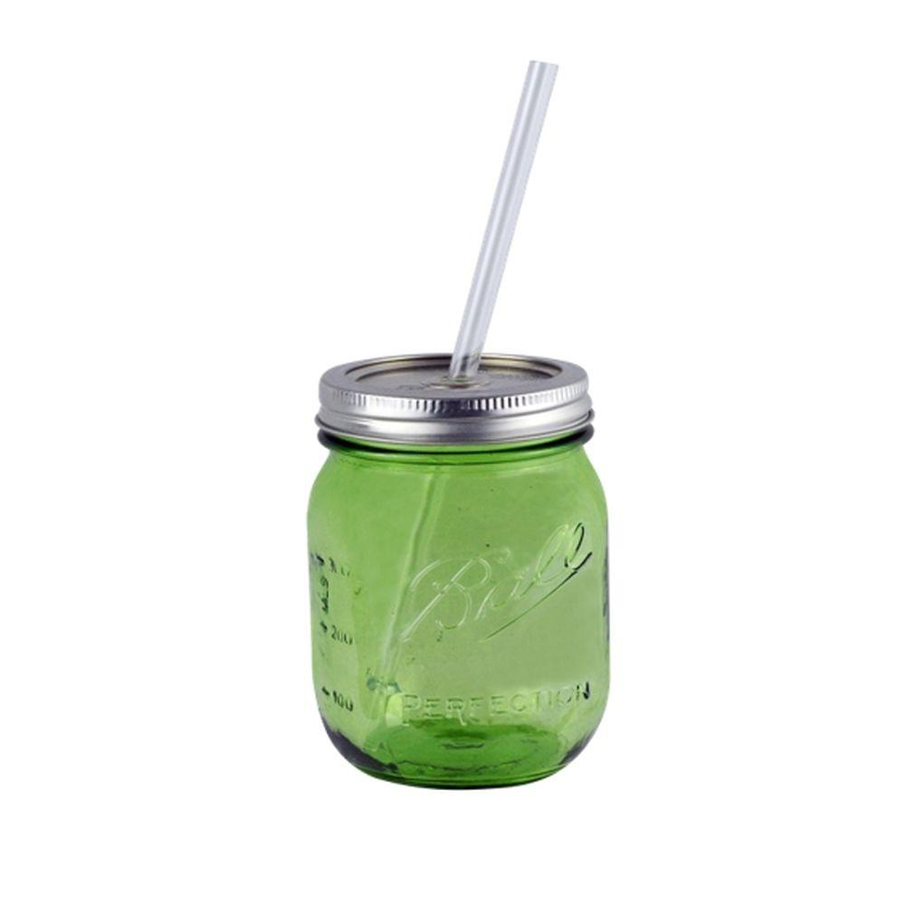 16 oz. Green Ball Mason Jar Drinking with Authentic Heritage Reusable
