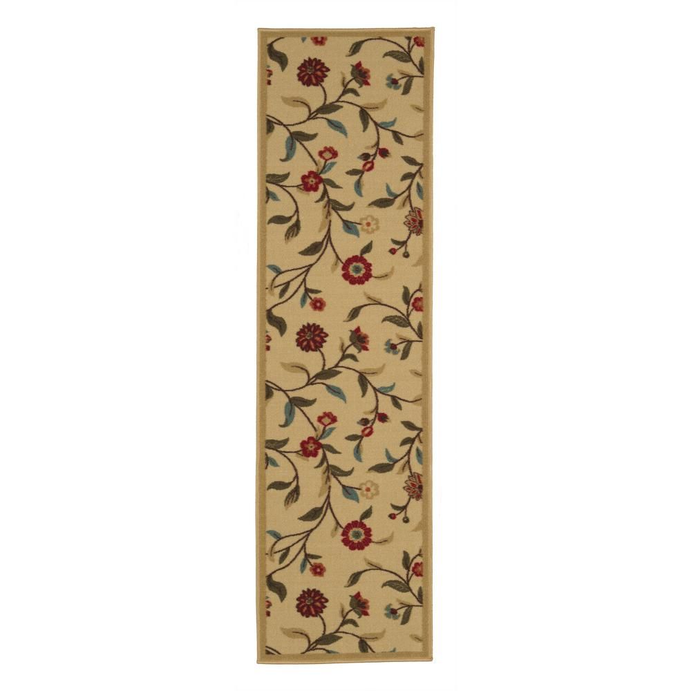 Ottomanson Ottohome Collection Floral Garden Design Beige 2 ft. x 7 ft. Non-Skid Runner Rug was $18.85 now $15.08 (20.0% off)