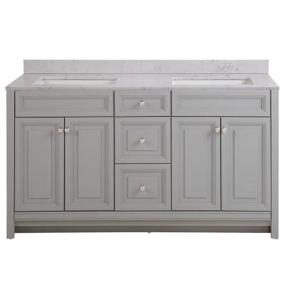 Brinkhill 61 in. W x 22 in. D Bathroom Vanity in Sterling Gray with Stone Effect Vanity Top in Pulsar with White Sink