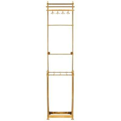 Tenley 80 in. Brass 4-Hook Coat Rack with Umbrella Stand