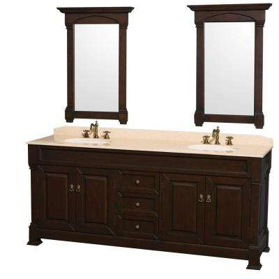 Andover 80 in. Vanity in Dark Cherry with Marble Vanity Top in Ivory with Sink and Mirrors