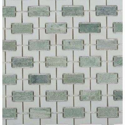 Rorschack Ming Green and Thassos Polished Marble Floor and Wall Tile - 3 in. x 6 in. Tile Sample