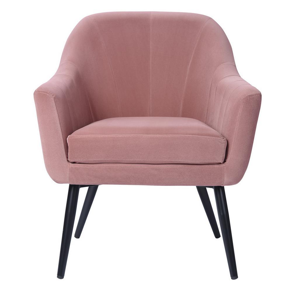 Wondrous Furnish Engle Pink Velvet Cover Leisure Arm Chair With Lamtechconsult Wood Chair Design Ideas Lamtechconsultcom