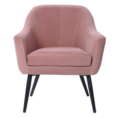 Engle Pink Velvet Cover Leisure Arm Chair with Cushion