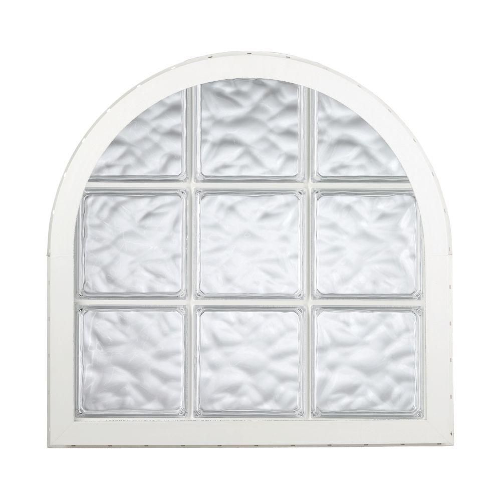 Hy-Lite 42 in. x 50 in. Acrylic Block Round Top Vinyl Window - White