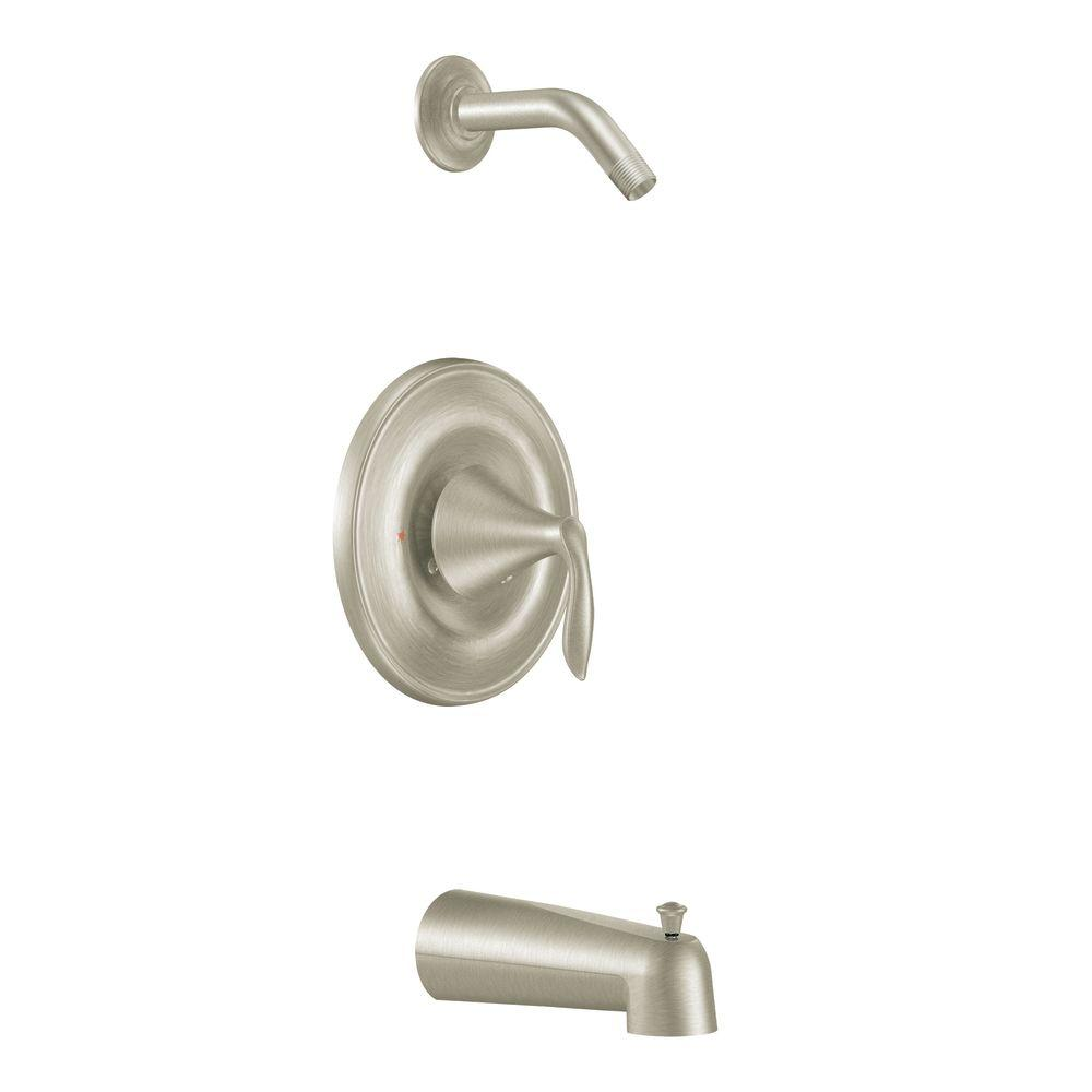 Eva 1-Handle Posi-Temp Tub and Shower Trim Kit in Brushed Nickel
