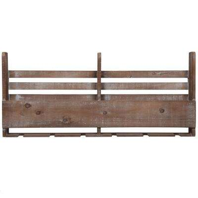 Reclaimed Pallet 5 in. x 34 in. x 15 in. Brown Wood Wine Decorative Shelf