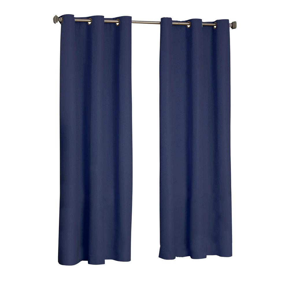 eclipse microfiber blackout navy grommet curtain panel 63 in length 10708042x063nvy the home. Black Bedroom Furniture Sets. Home Design Ideas