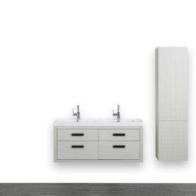 47.2 in. W x 19.4 in. H Bath Vanity in Gray with Resin Vanity Top in White with White Basin