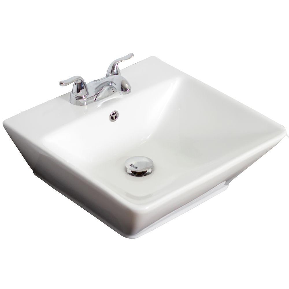 American Imaginations Wall Mount Rectangle Vessel Sink in White for 4 in. O.C. Faucet