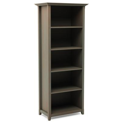 70 in. x 30 in. Amherst Distressed Grey Solid Wood 5-Shelf Bookcase