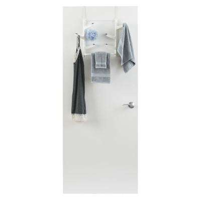 5 lb. Capacity Over The Door White Non Slip 6-Swivel Hook with Towel Bar