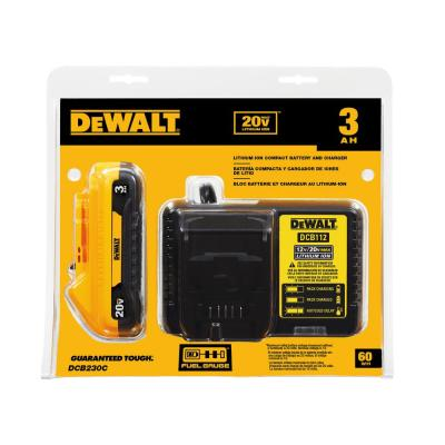 DEWALT DCB230C 20-Volt MAX Lithium-Ion Battery Pack 3.0Ah With Charger