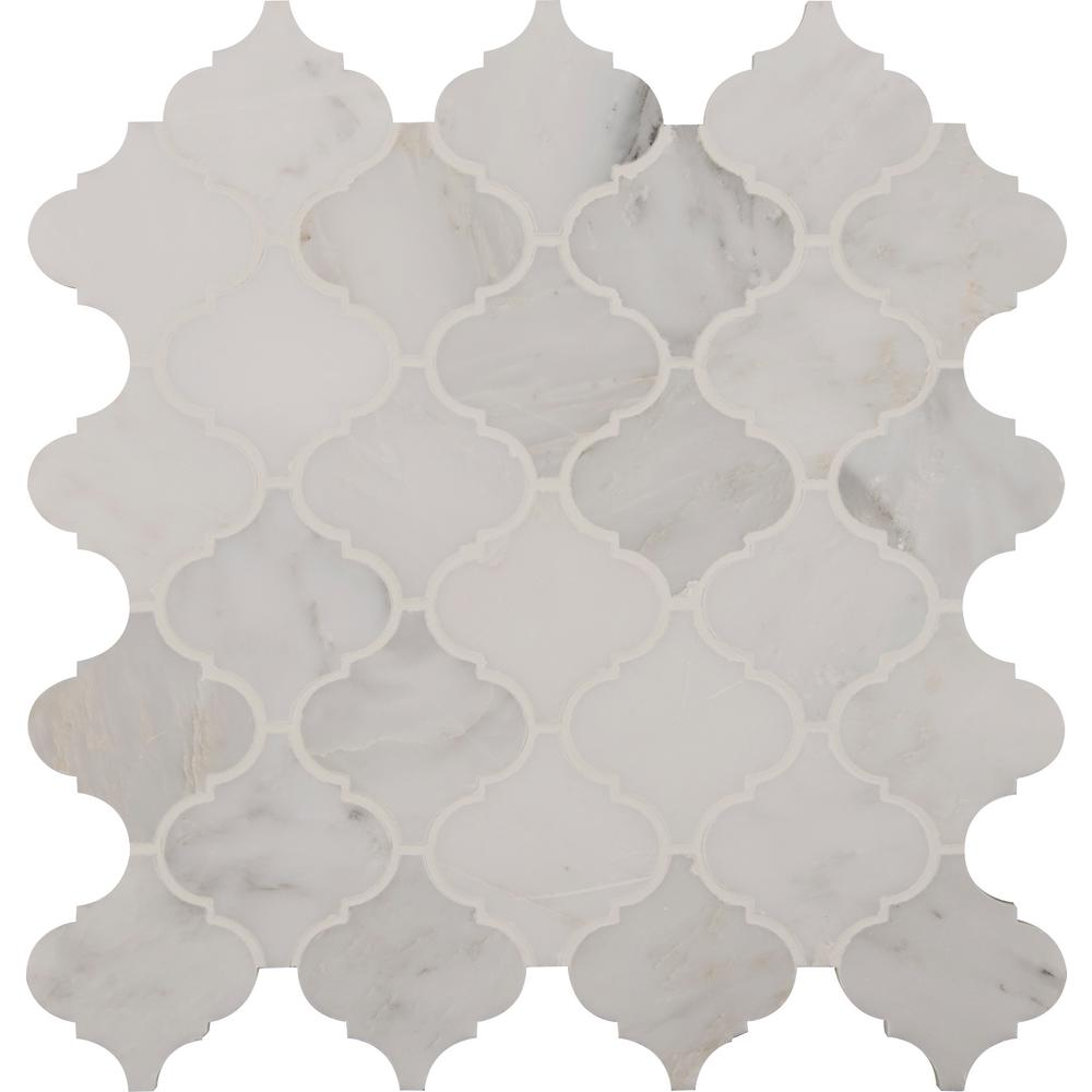 MSI Greecian White Arabesque 12 in. x 12 in. x 10 mm Polished Marble Mesh-Mounted Mosaic Tile