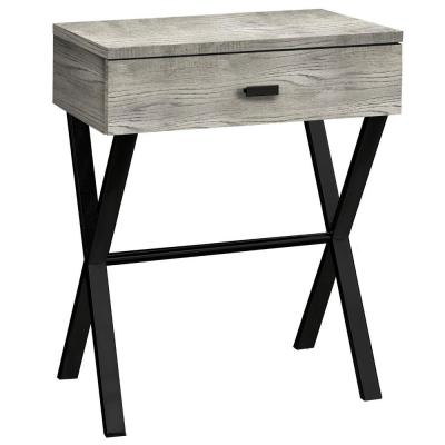 Jasmine 22.25 in. Grey and Black Wood End Table