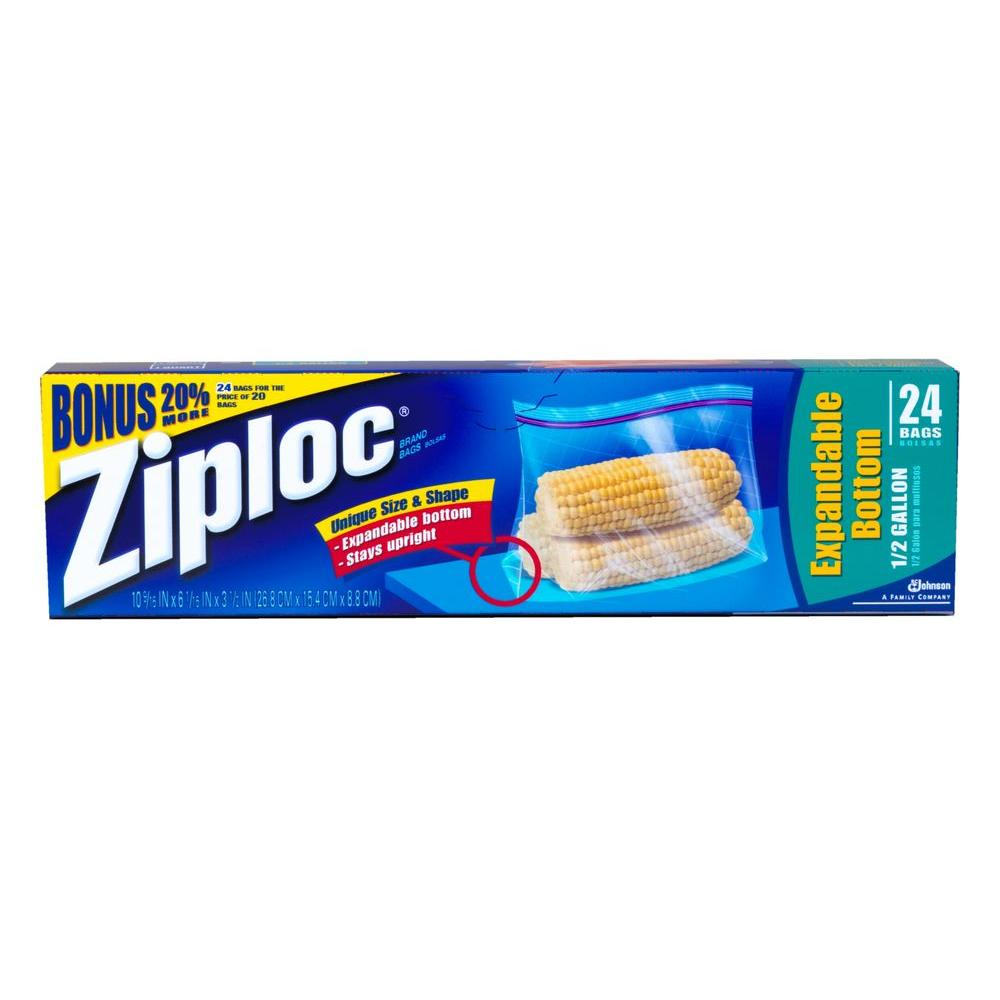 Ziploc 10 in., 0.5 gal. Expandable Bottom Plastic Storage Bag with Smart Zipper 24-Bag (12-Pack) Keep your food fresh with Ziploc Brand Slider Bags. Each bag features a slider closure and an expandable bottom that opens into a flat base, helping the bag stay upright so it's easy to fill. Plus, these bags feature our Smart Zip seal, it lets you hear the bag close so you can feel confident your food is protected. Slider closure makes these bags easy to close, easy to open Flat base helps prevent items from getting squished. Filled bags stand side by side in most refrigerators, freezers and pantries.