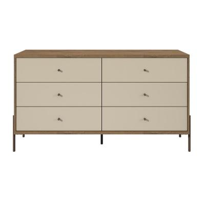Joy 59 in. Wide Off-White 6-Drawer Double Dresser
