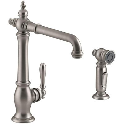 Artifacts Single-Handle Standard Kitchen Faucet with Victorian Spout Design and Side Sprayer in Vibrant Stainless