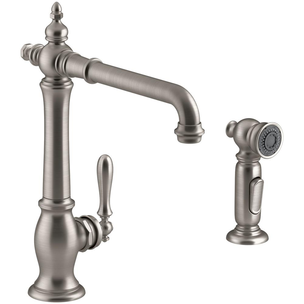 KOHLER Artifacts Single Handle Standard Kitchen Faucet With Victorian Spout  Design And Side Sprayer In Polished Chrome K 99265 CP   The Home Depot
