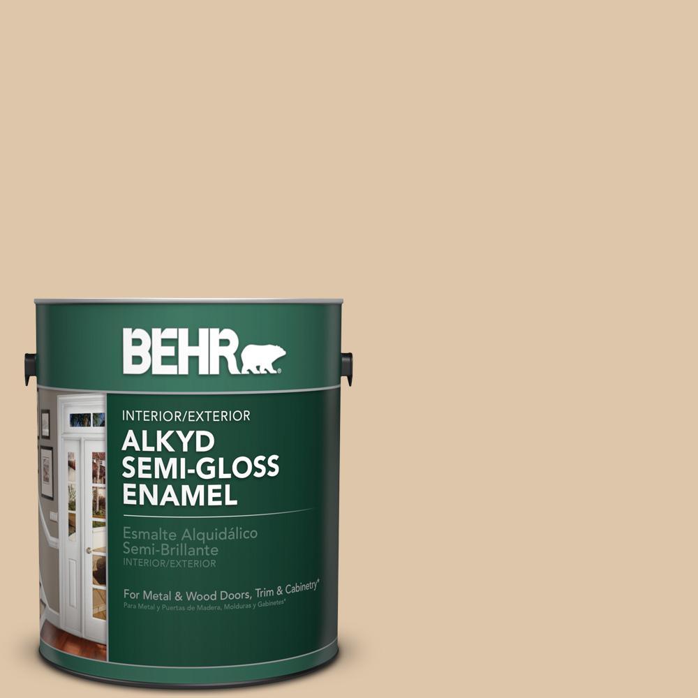 1 gal. #PPU4-13 Sand Motif Semi-Gloss Enamel Alkyd Interior/Exterior Paint