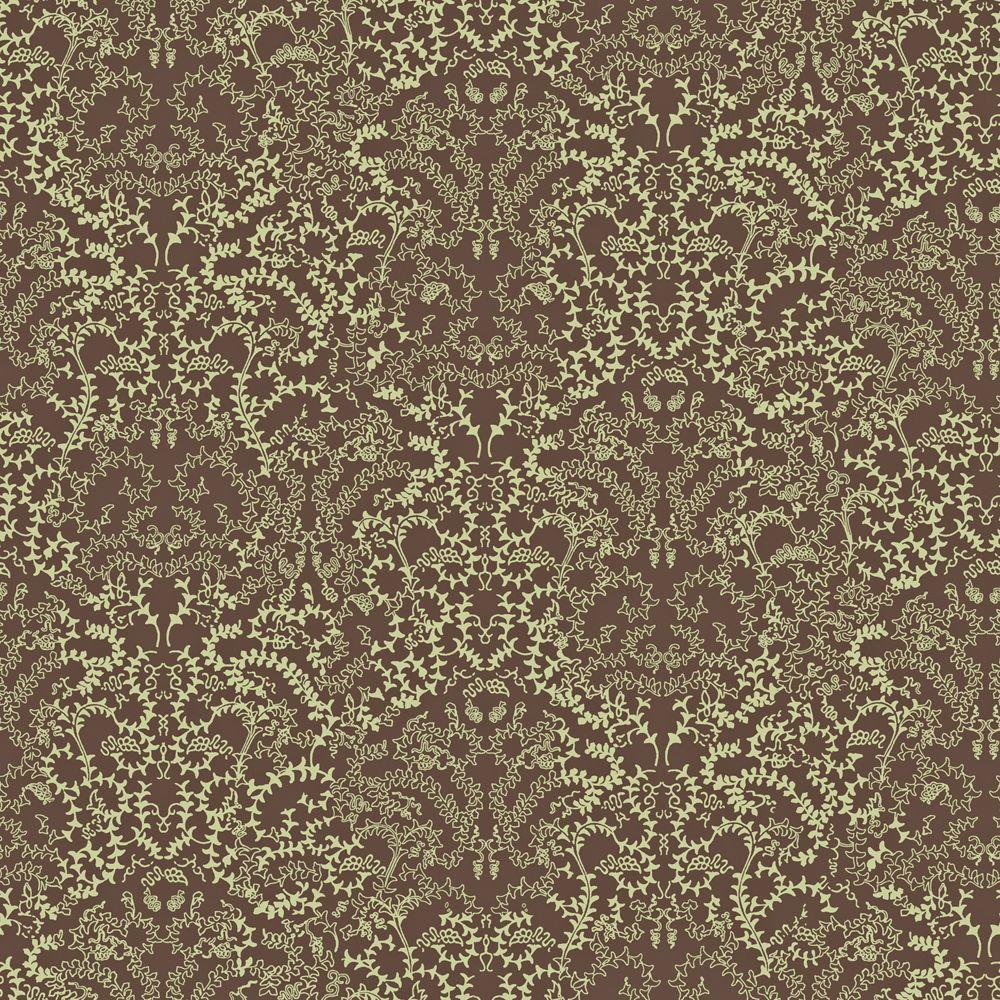 The Wallpaper Company 8 in. x 10 in. Brown and Green Modern Lace Damask Wallpaper Sample