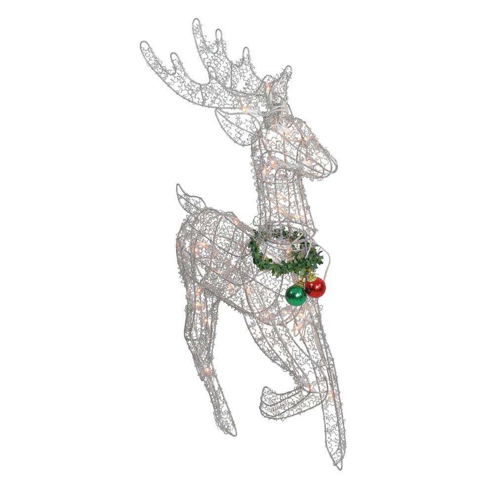 Northlight 25 In Lighted Silver Sisal Prancing Reindeer Christmas Outdoor Decoration