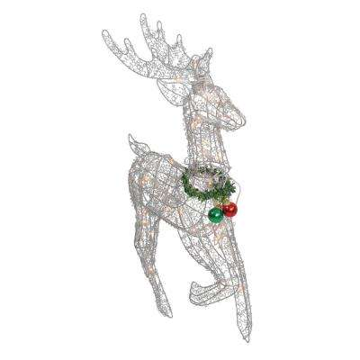 25 in. Lighted Silver Sisal Prancing Reindeer Christmas Outdoor Decoration