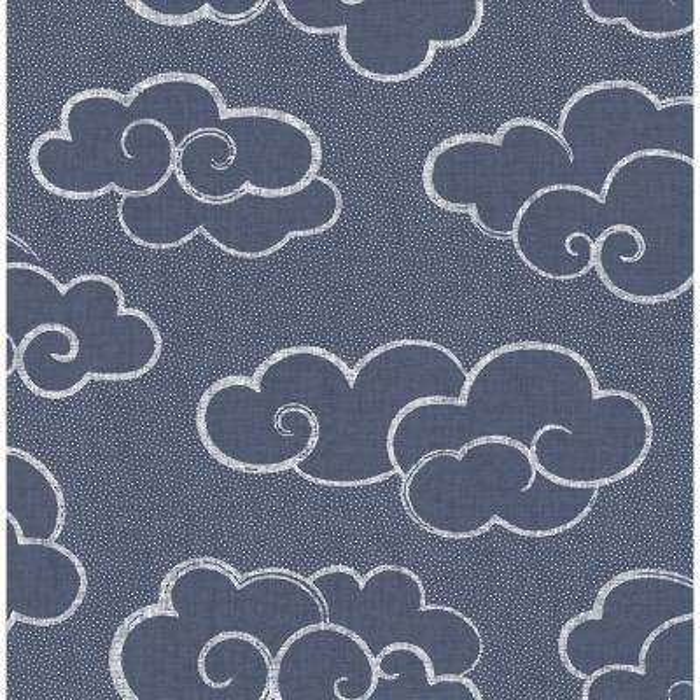 56.4 sq. ft. Skylark Navy Cloud Wallpaper