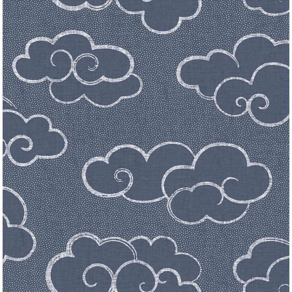 8 in. x 10 in. Skylark Navy Cloud Wallpaper Sample