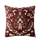 Embroidered Decorative Pillow Cover in Red Embroidered Damask, 20 in. x 20 in.
