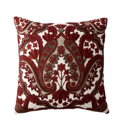 Embroidered Red Damask 20 in. x 20 in. Decorative Throw Pillow Cover