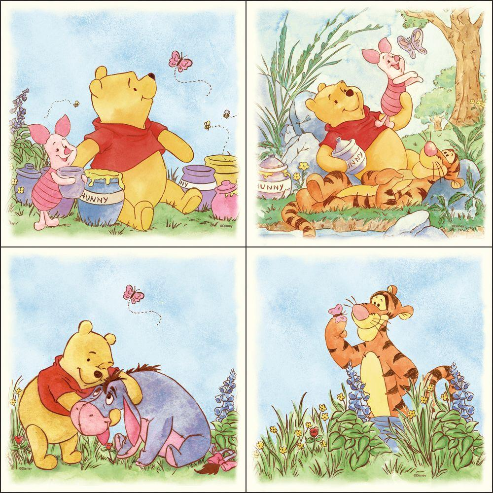 Disney 11.5 in. x 11.5 in. Multicolored Lazy Daze Pooh Wall Decal (4-Piece)-DISCONTINUED