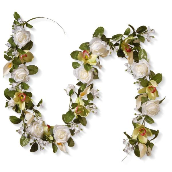 National Tree Company 72 in. White Rose and Calla Lily Garland