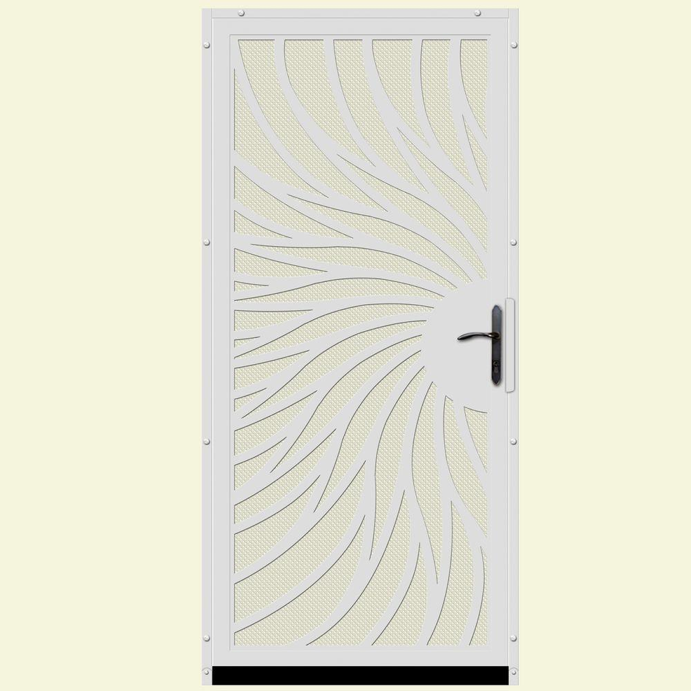 Unique home designs 36 in x 80 in solstice white surface mount steel security door with almond - White security screen door ...